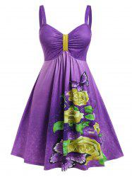 Plus Size Butterfly Floral Print Ruched Knee Length Dress -