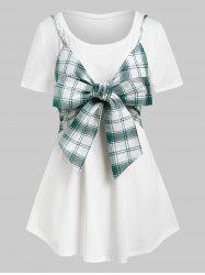 Plus Size Plaid Bowknot Crop Top and Long Tunic Tee Set -