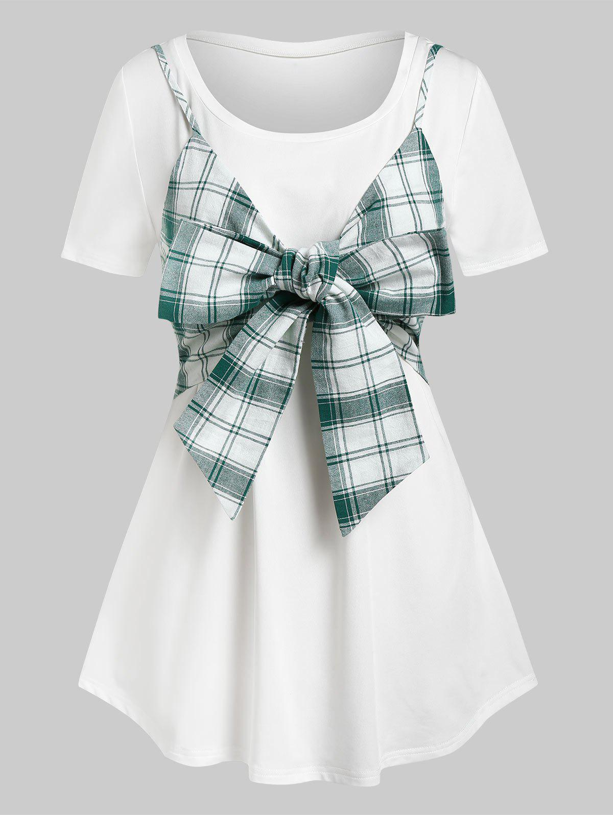 Trendy Plus Size Plaid Bowknot Crop Top and Long Tunic Tee Set
