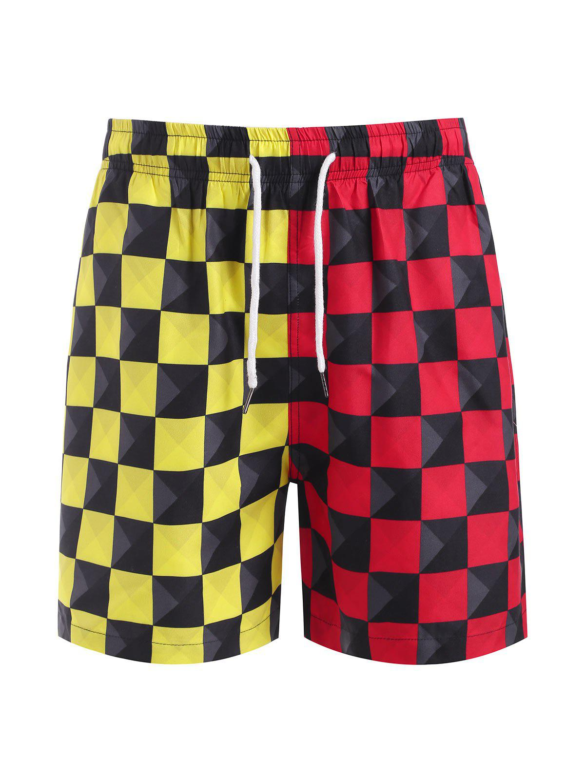 Cheap Contrast Checkerboard Print Casual Shorts
