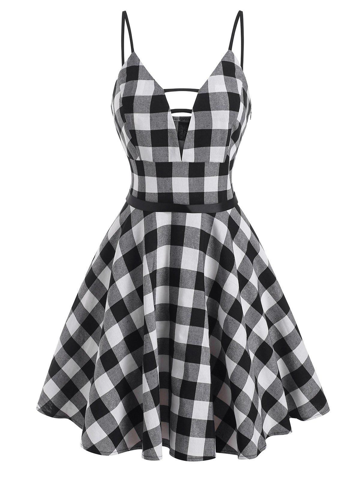 Fashion Gingham Ladder Cut Cami Dress