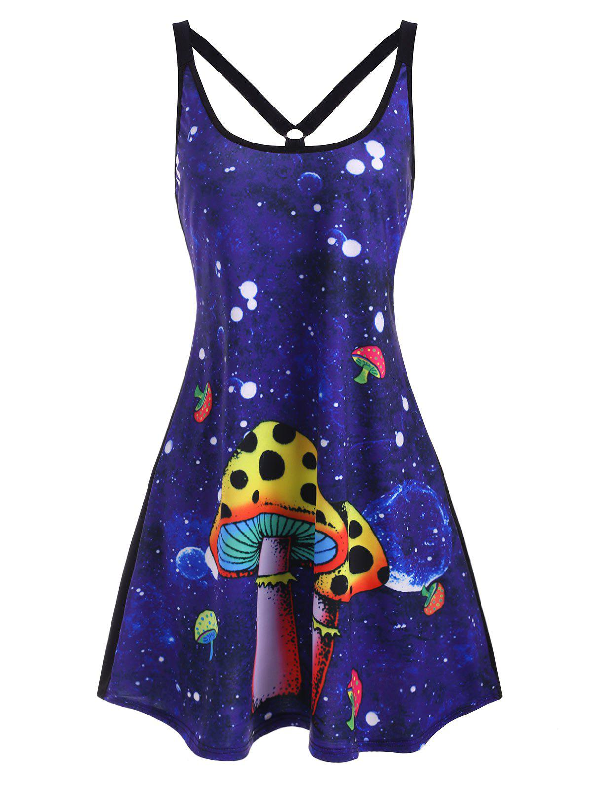 Cheap Mushroom Print Strappy O Ring Tank Dress