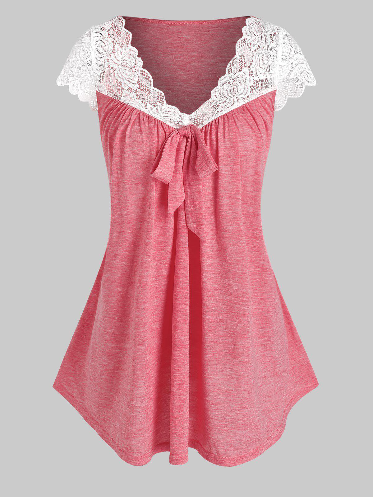 Affordable Flower Lace Insert Bowknot Detail Heathered T-shirt