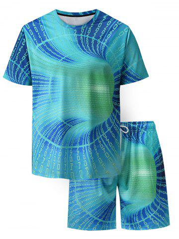 Letter Allover Print T-shirt And Shorts - TURQUOISE - L