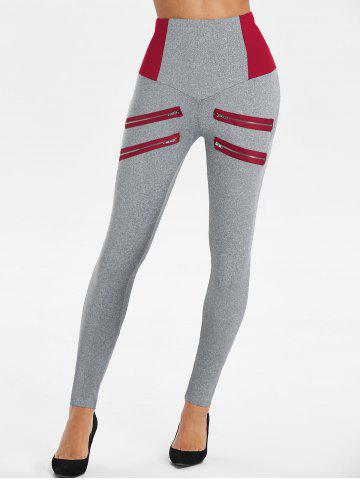 Zip Accent altura de la cintura polainas heathered - DEEP RED - 3XL