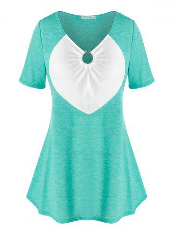 Plus Size Cinched Two Tone O Ring Tee