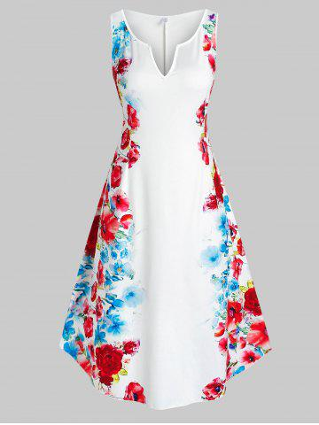 Plus Size Sleeveless Floral Print Midi Dress