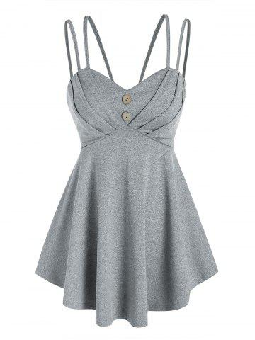 Strappy Pleated Empire Waist Tank Top - GRAY - XL