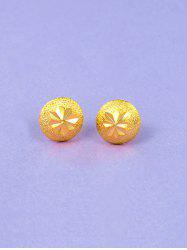 Engraved Matte Gold Plated Button Earrings -