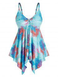 Plus Size Printed Cinched Handkerchief Tankini Swimwear -