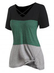 Colorblock Twisted Hem Criss Cross Tee -
