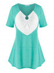 Plus Size Cinched Two Tone O Ring Tee -
