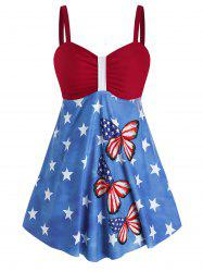 Plus Size American Flag Butterfly Print Padded Tankini Set -