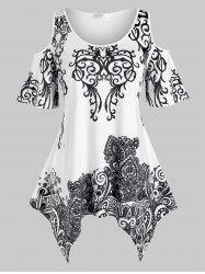 Plus Size Printed Open Shoulder Handkerchief Tunic Tee -
