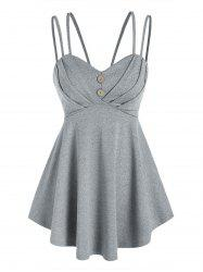 Strappy Pleated Empire Waist Tank Top -