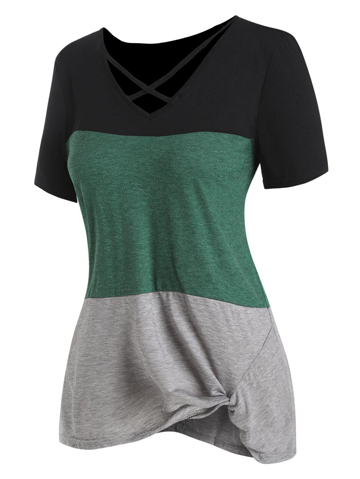 Online Colorblock Twisted Hem Criss Cross Tee