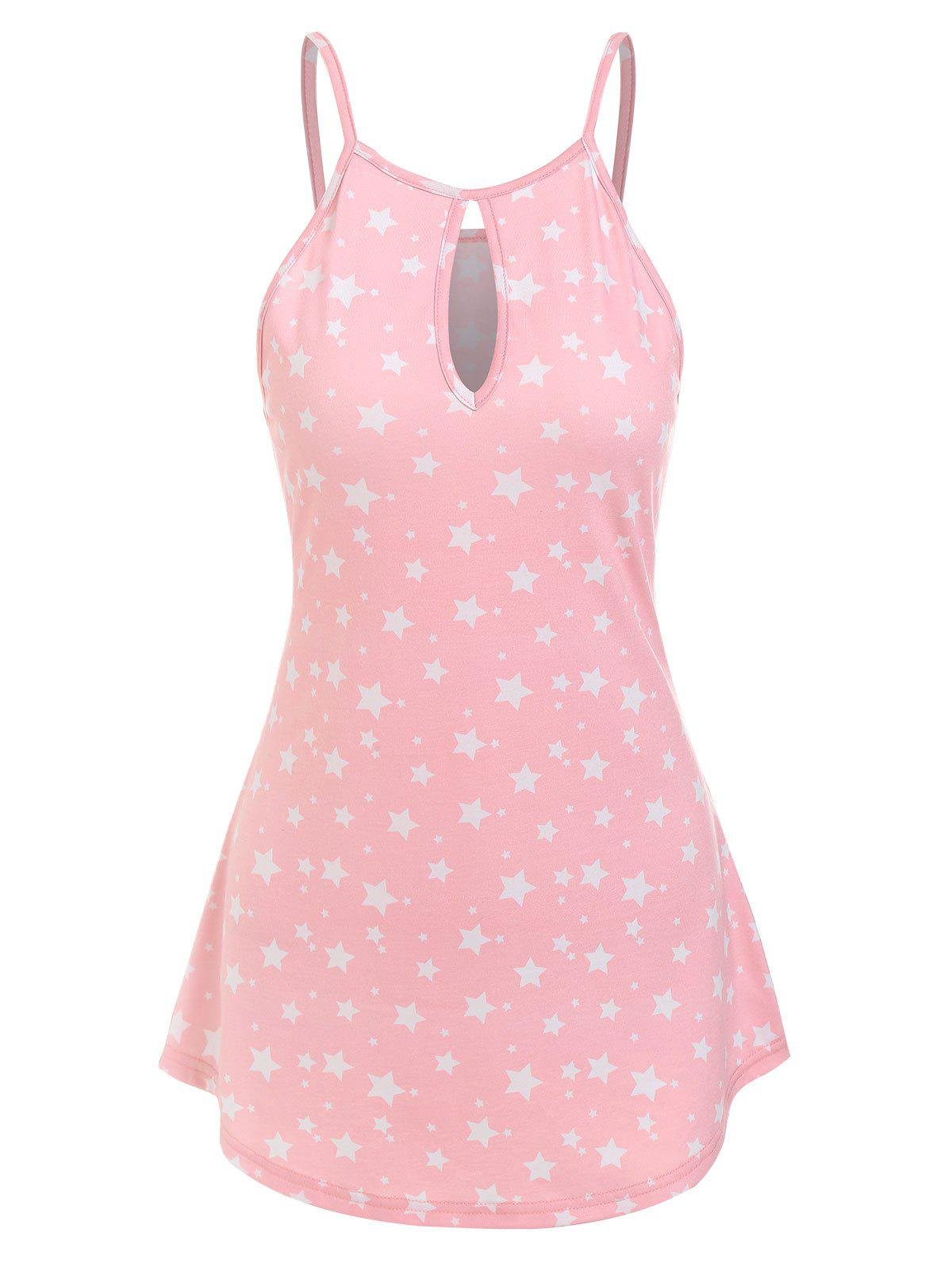 Affordable Keyhole Stars Printed Tank Top