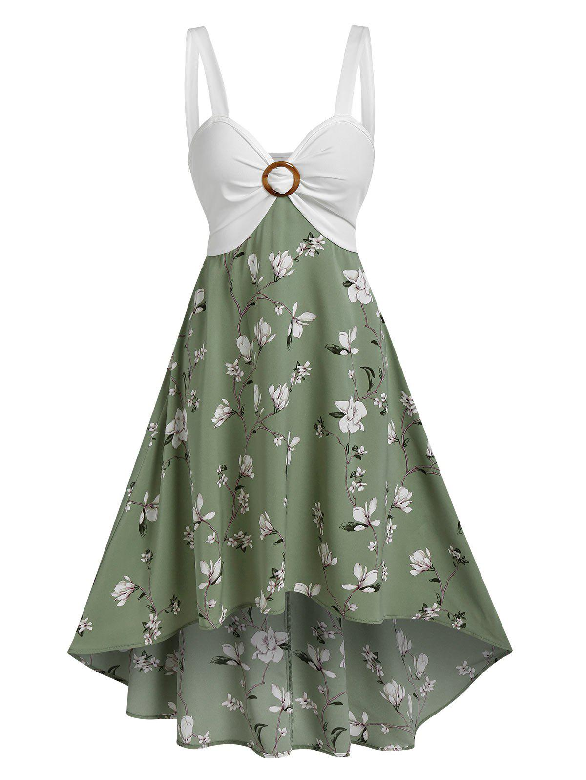 Affordable O Ring Floral Print High Low Midi Dress