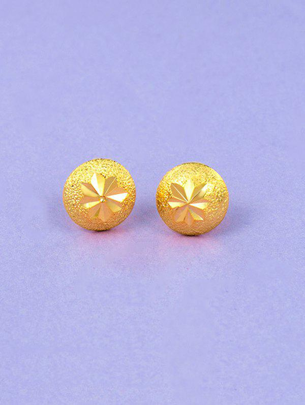 Affordable Engraved Matte Gold Plated Button Earrings