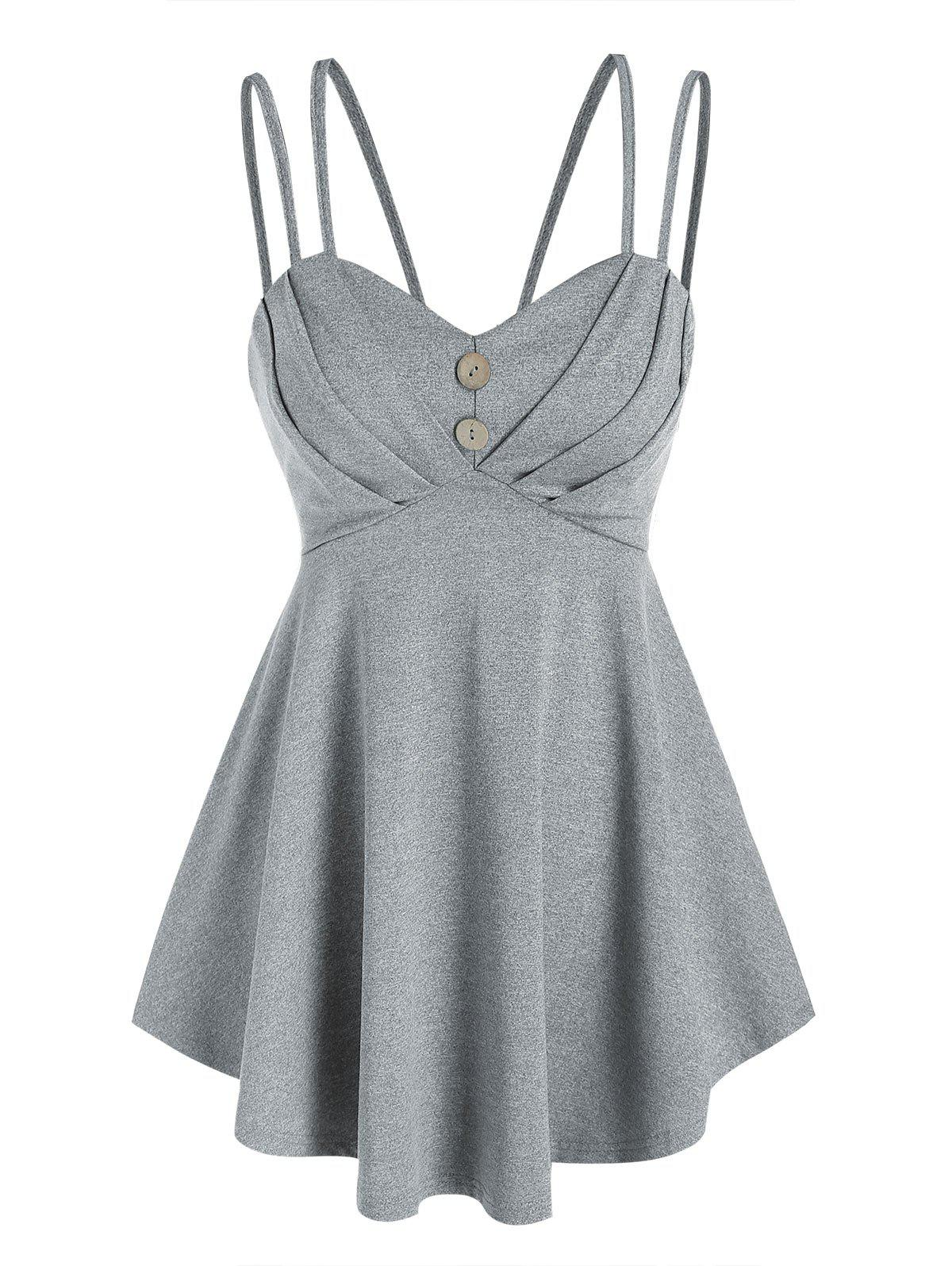 Fashion Strappy Pleated Empire Waist Tank Top