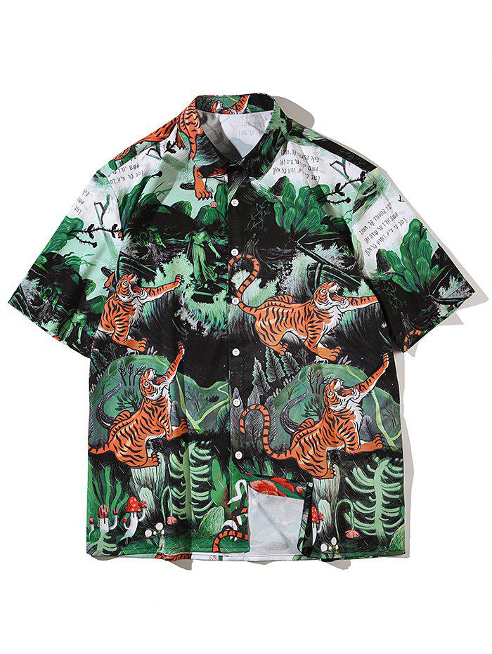 Trendy Tiger Plant Mushroom Print Beach Shirt
