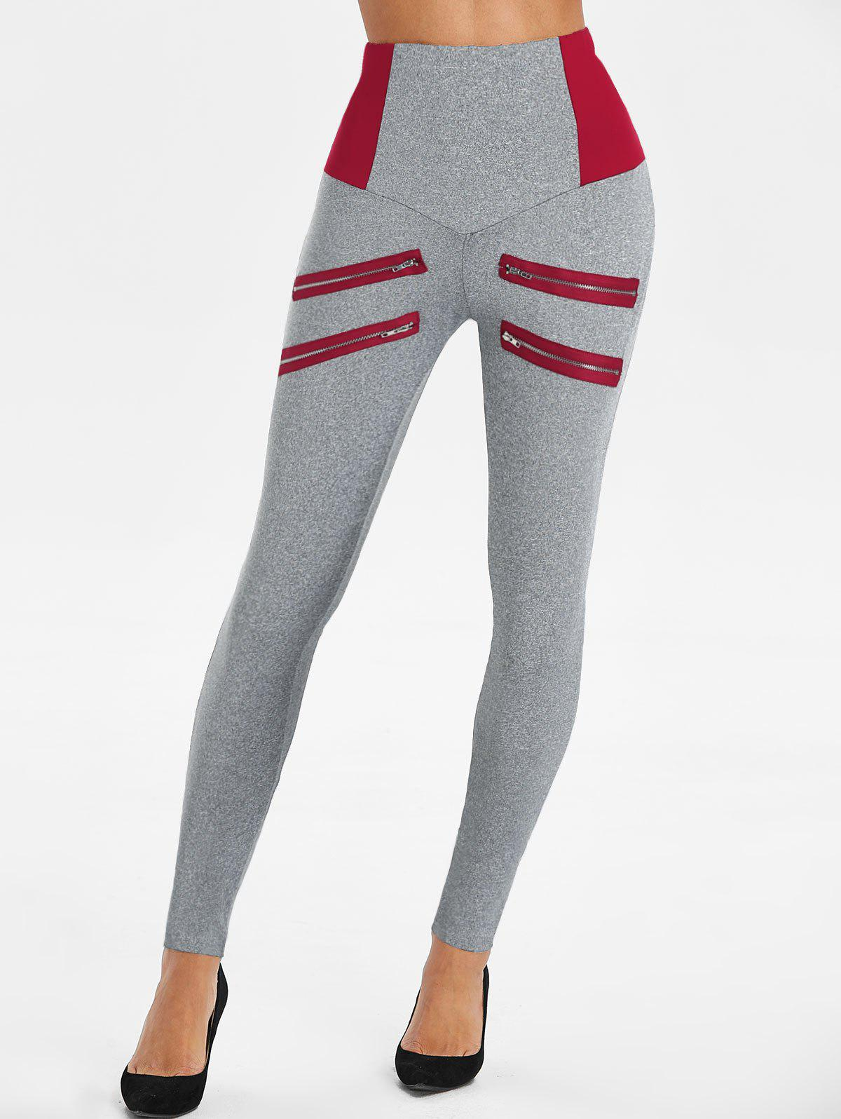 Fashion Zip Accent High Waist Heathered Leggings