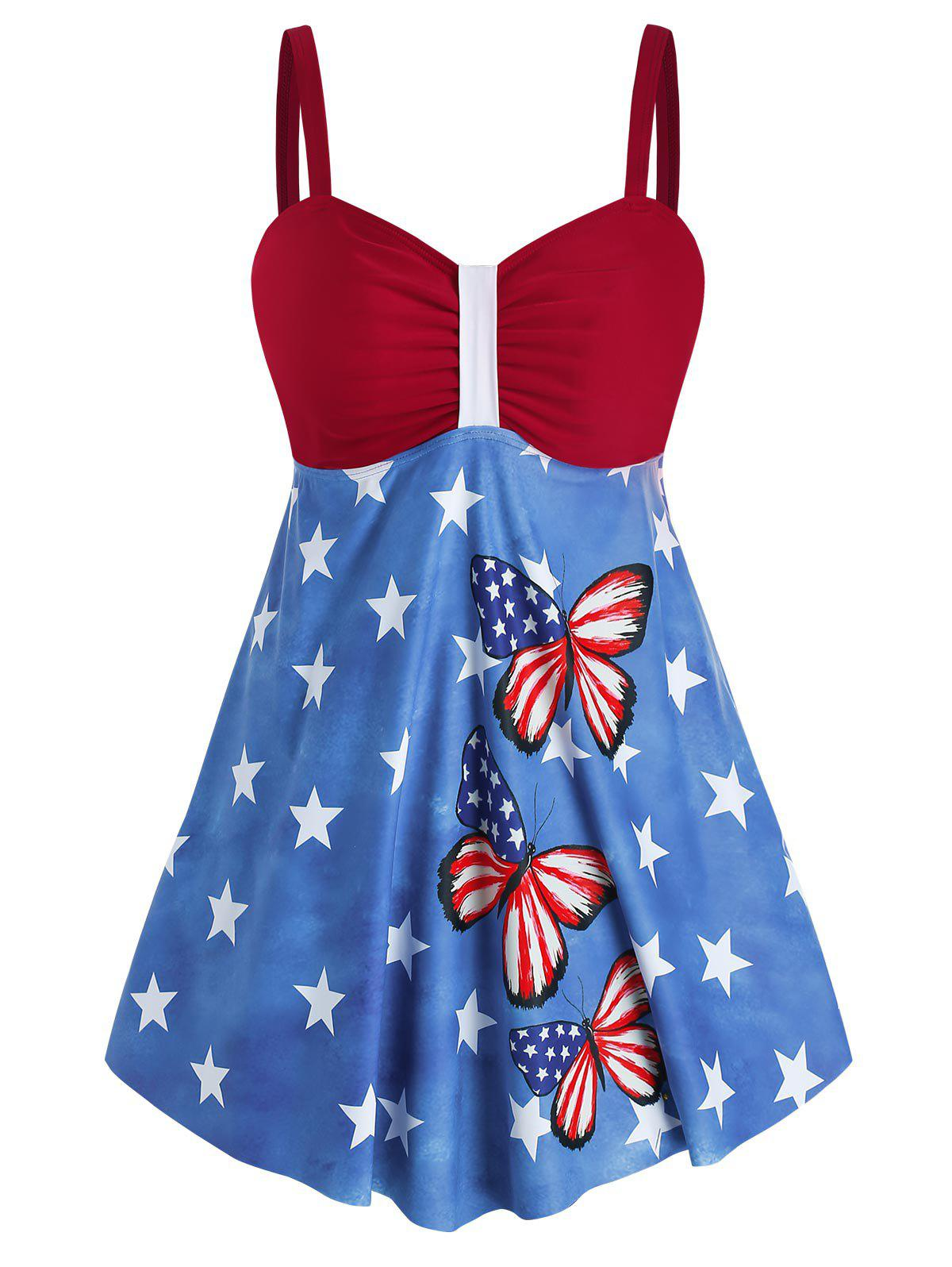 Online Plus Size American Flag Butterfly Print Padded Tankini Set