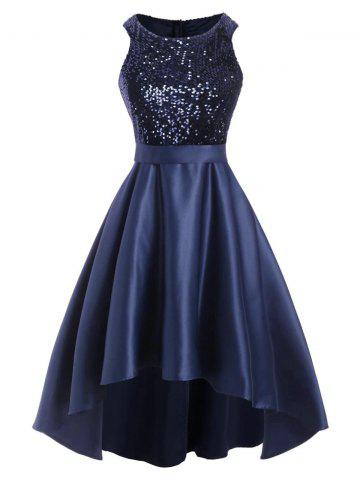 Glitter Sequined High Low Party Dress - DEEP BLUE - 2XL