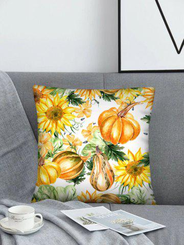 Sunflower Pumpkin Pattern Linen Square Pillowcase - SUN YELLOW - W18 X L18 INCH