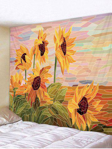 Patchwork Sunflower Printed Wall Tapestry - ORANGE GOLD - W91 X L71 INCH