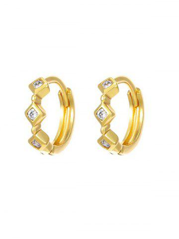Rhinestone Inlaid Triple Rhombus Hoop Earrings