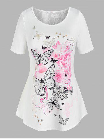 Plus Size Floral Butterfly Print Tunic T Shirt - WHITE - 2X