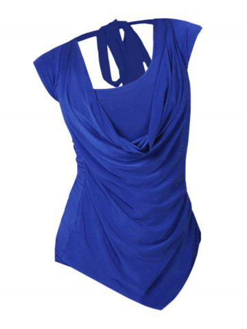 Plus Size Cowl Front Draped Ruched Tied Back Tee - BLUE - 2XL