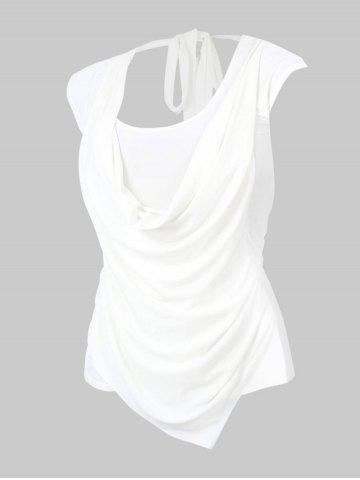 Plus Size Cowl Front Draped Ruched Tied Back Tee - WHITE - XL