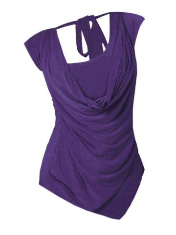 Plus Size Cowl Front Draped Ruched Tied Back Tee - CONCORD - XL