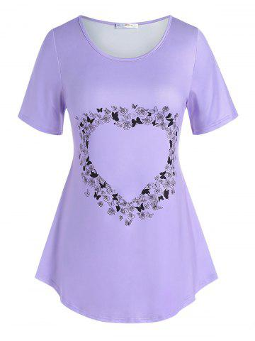 Plus Size Heart Floral Butterfly Pattern T Shirt