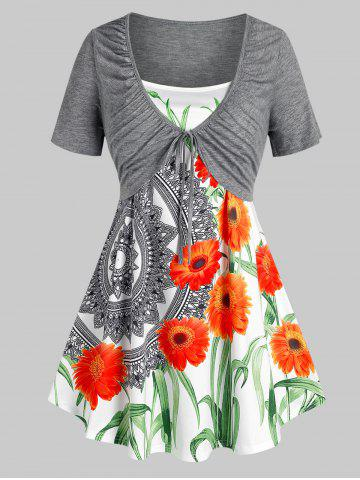 Plus Size Front Tie Ruched Tee and Floral Camisole Set - GRAY - 3X