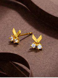 Scissors Shape Rhinestone Gold Plated Stud Earrings -