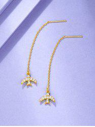 Airplane Shape Rhinestone Inlaid Dangle Earrings -