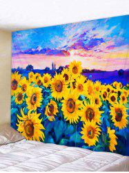 Oil Painting Sunflower Pattern Wall Tapestry -
