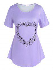 Plus Size Heart Floral Butterfly Pattern T Shirt -
