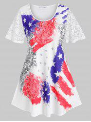 Plus Size Paisley American Flag Sheer Lace Tunic Tee -
