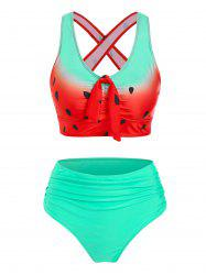 Watermelon Print Cut Out Ruched Padded Tankini Set -
