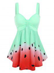 Ruched Watermelon Printed Tank Top -