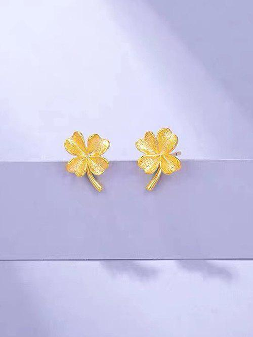 Store Gold Plated Clover Shaped Stud Earrings