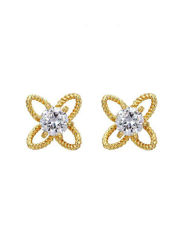 Outfits Hollow Floral Shape Rhinestone Stud Earrings