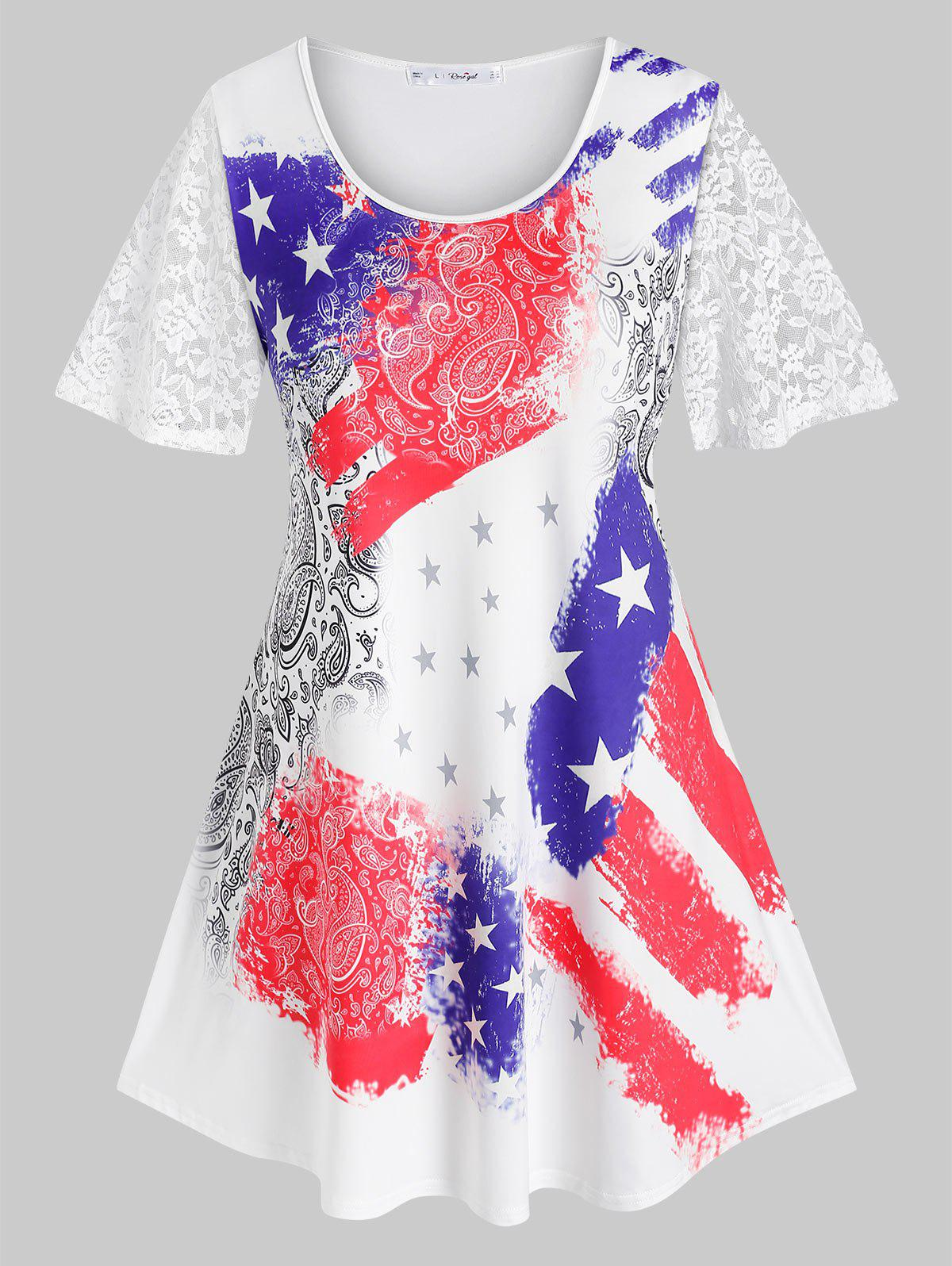 Outfits Plus Size Paisley American Flag Sheer Lace Tunic Tee
