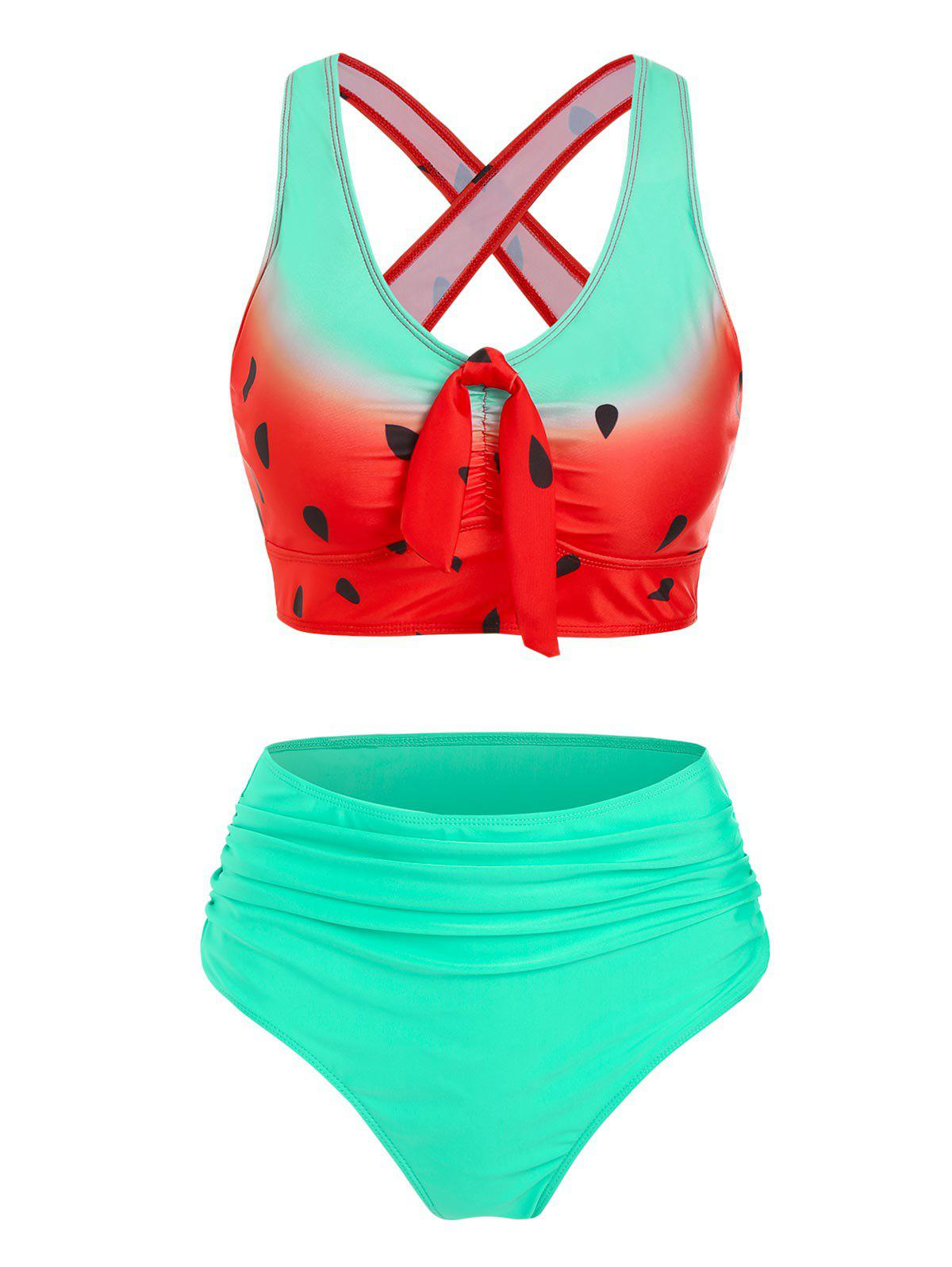 Sale Watermelon Print Cut Out Ruched Padded Tankini Set