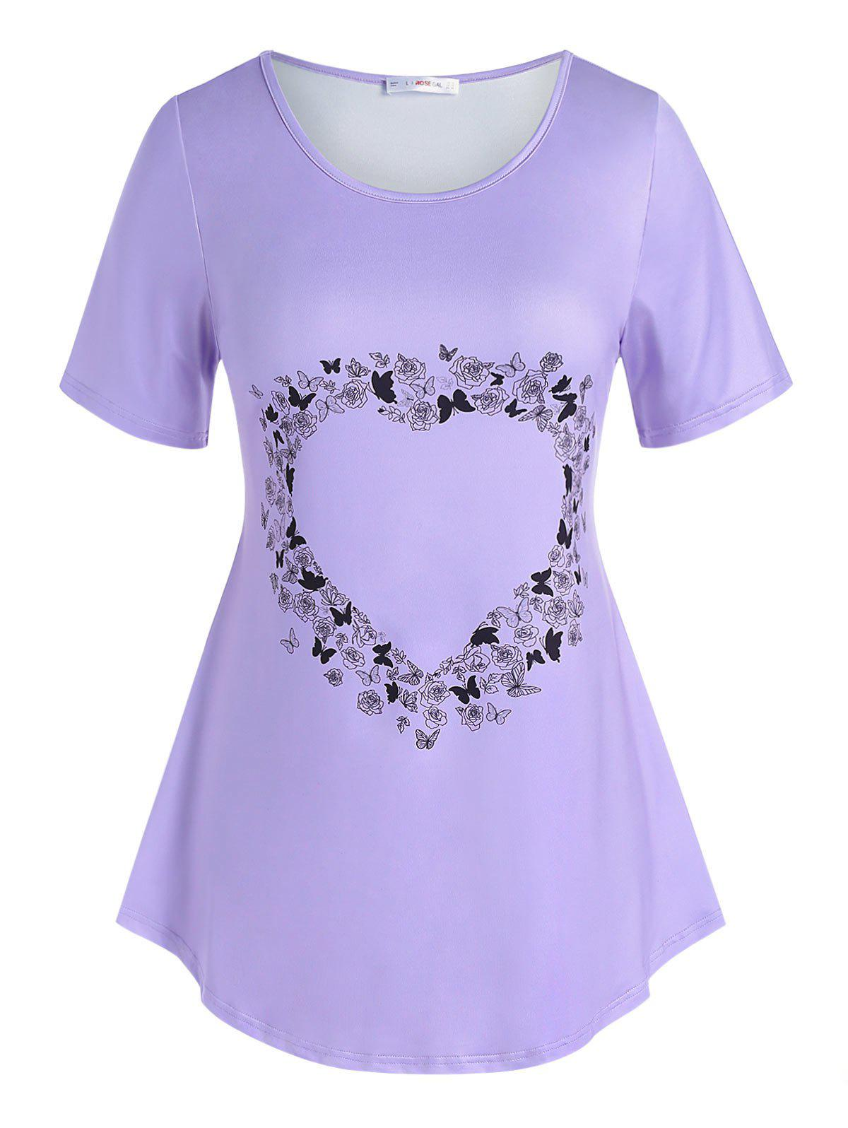 Buy Plus Size Heart Floral Butterfly Pattern T Shirt