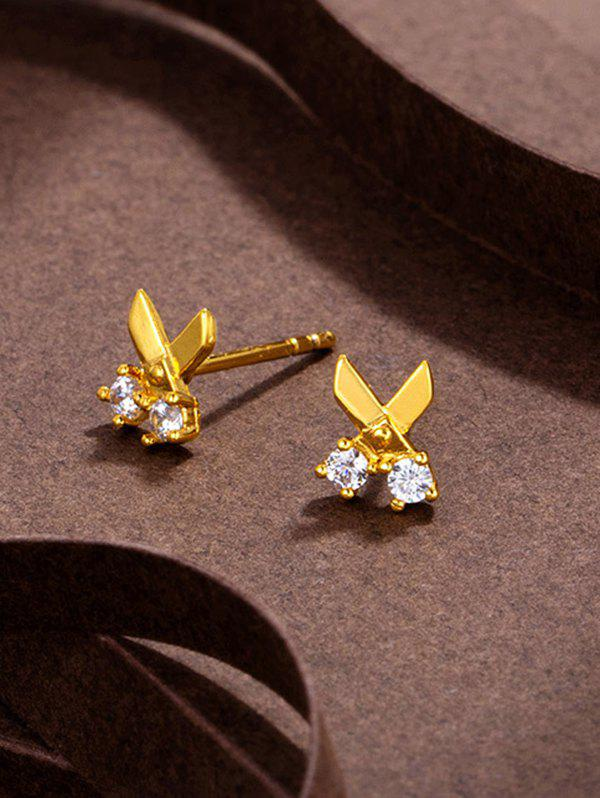 Cheap Scissors Shape Rhinestone Gold Plated Stud Earrings